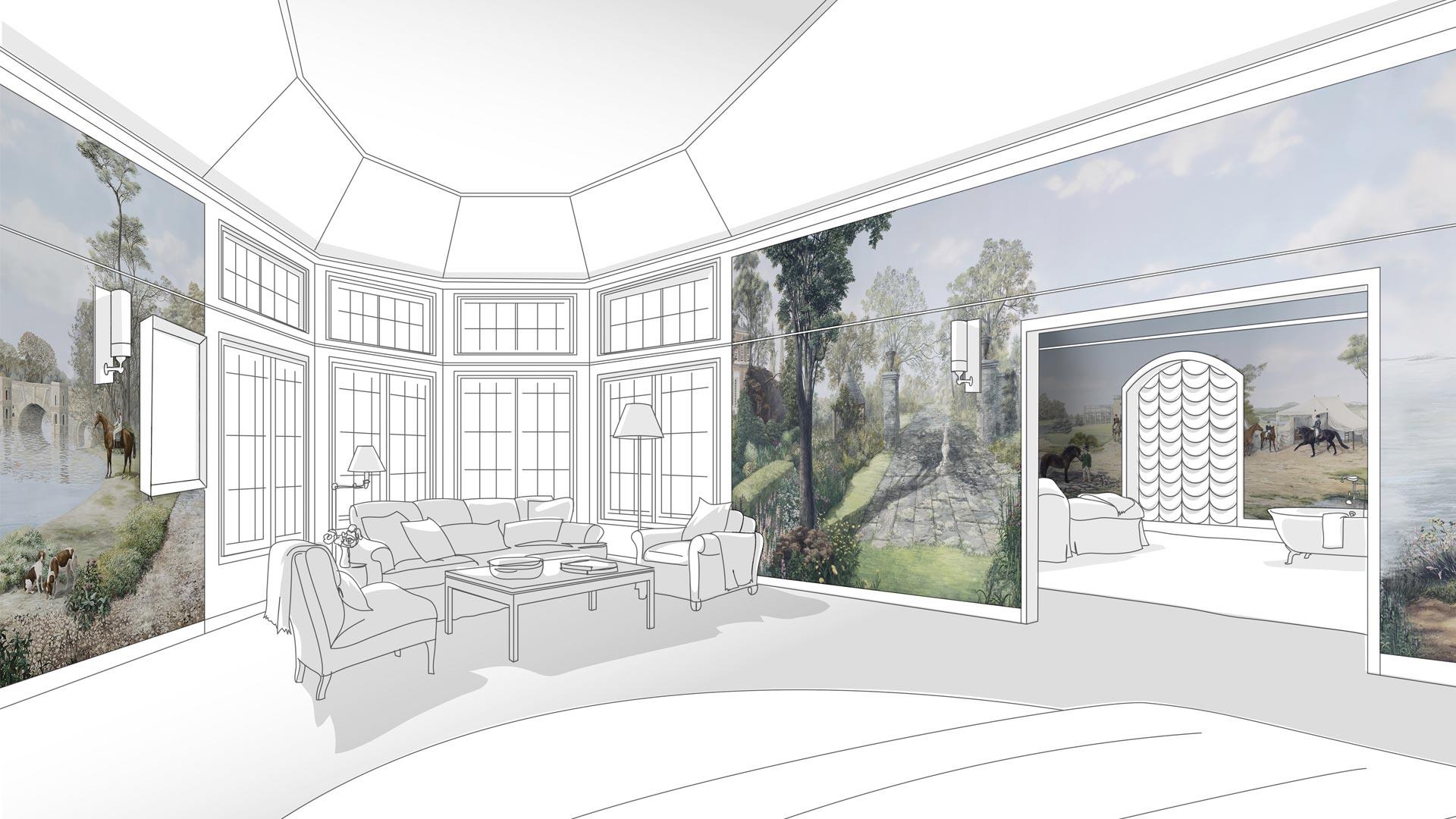 Tappezzeria Trompe L Oeil fabric wallcoverings - kohro inspiring interiors